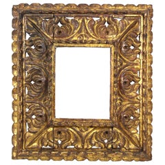 South American Baroque Giltwood Frame with Heavy Carved Openwork