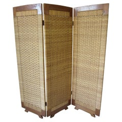South American Woven and Wood Screen Room Divider
