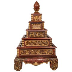 """South East Asian Painted """"Temple"""" Wood Box"""