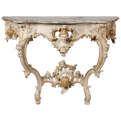 South German White Painted Rococo Console Table, Mid-18th Century