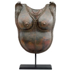 South Indian Bronze Dancers Ritual Breast Plate on Stand