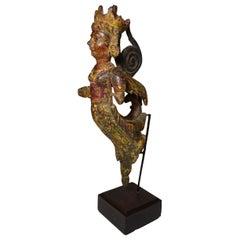 South Indian Poly Chrome Wood Angel Figure, circa 1800