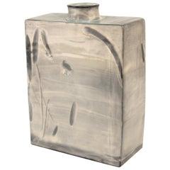 South Korean Grayish-Blue Buncheong Ceramic Vase by Choi Bio