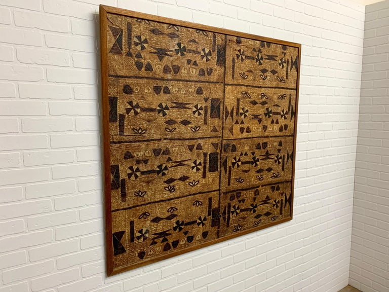 South Pacific Bark Cloth on Board In Good Condition For Sale In Laguna Hills, CA
