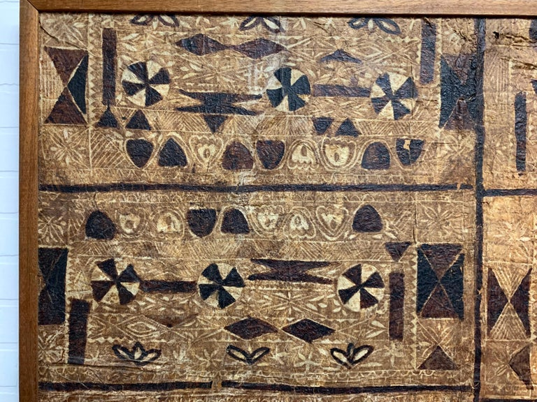20th Century South Pacific Bark Cloth on Board For Sale