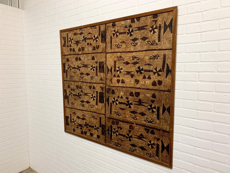 Paint South Pacific Bark Cloth on Board For Sale