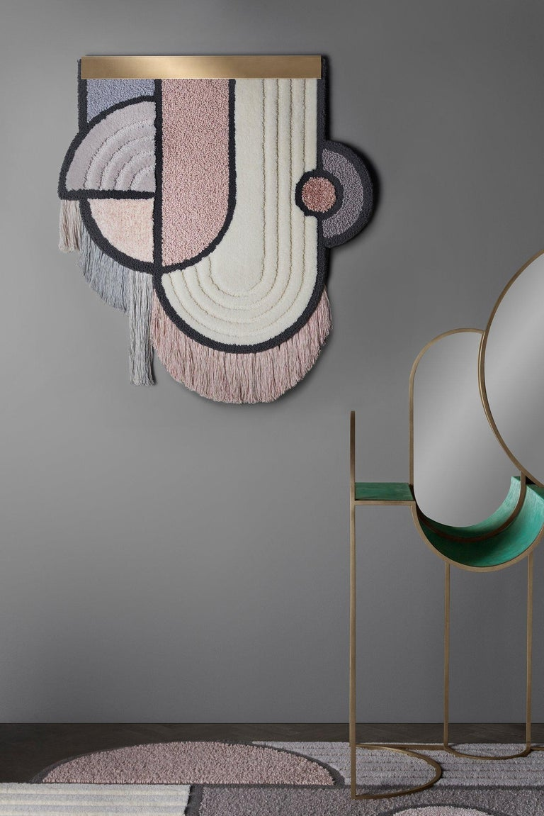 South Pole Wall Hanging, Wool Fringes Brass Geometric, Lara Bohinc for Kasthall In New Condition For Sale In London, GB