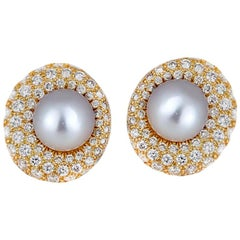 South Sea, Pearl and 3.50 Carat Diamonds Set with Omegas, 14 Karat Yellow Gold