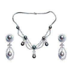 "South Sea ""Akoya"" Gray Pearl, White Diamond Platinum Necklace Earrings Set Grey"