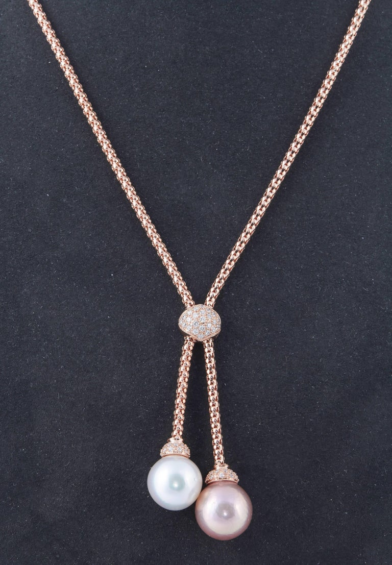 Contemporary South Sea and Fresh Water Pearl Diamond Gold Pendant For Sale
