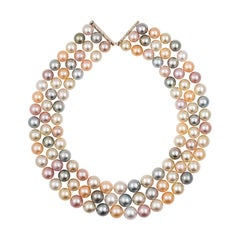South Sea and Freshwater Three-Row Multi-Color Round Pearl Necklace
