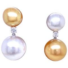 South Sea and Golden Pearl Diamond Drop Earrings 0.25 Carat 18 Karat White Gold