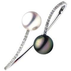 South Sea and Tahitian Pearl Diamond Gold Bangle Bracelet