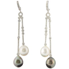South Sea and Tahitian Pearl Diamond Dangle Earrings 1.07 Carats 10-11 MM 18K