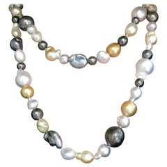 South Sea and Tahitian Pearl 'Fruit Salad' Necklace