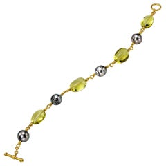 South Sea Baroque Grey Pearls and Lemon Quartz in Yellow Gold 22 Karat Gold
