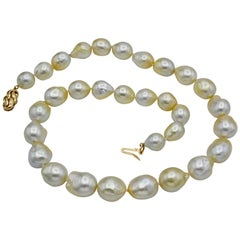South Sea Baroque Large White Pearl Necklace 14 Karat Gold