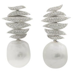 South Sea Baroque Pearl Diamond Drop Earrings 0.96 Carats 18K