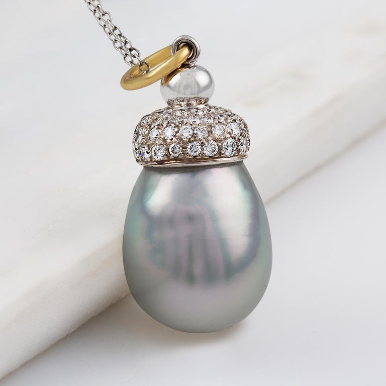 Round Cut South Sea Baroque Cultured Pearl and Diamond Pendant For Sale