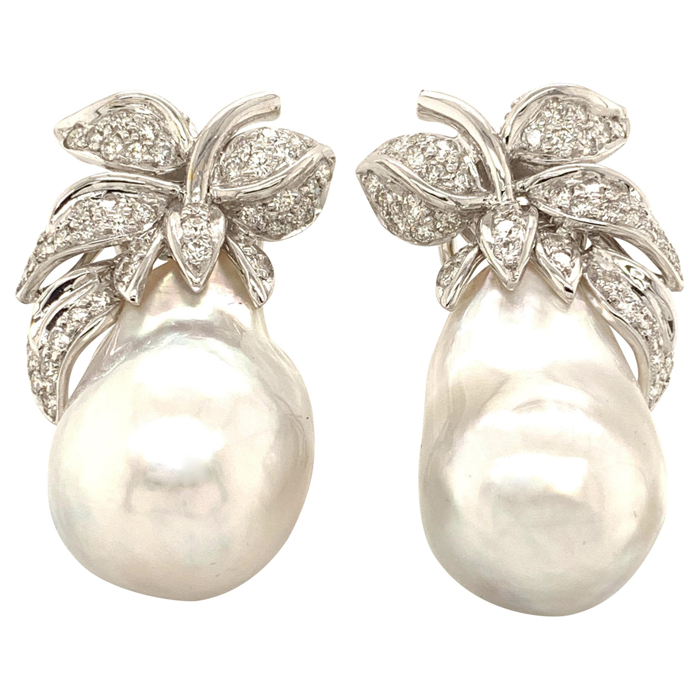 South Sea Baroque Pearl and White Diamond Gold Earrings