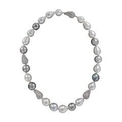 South Sea Baroque Pearl Diamond 18 Karat Gold Necklace