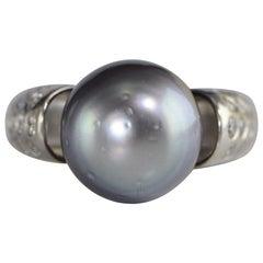 South Sea Black Pearl Diamond White Gold Ring