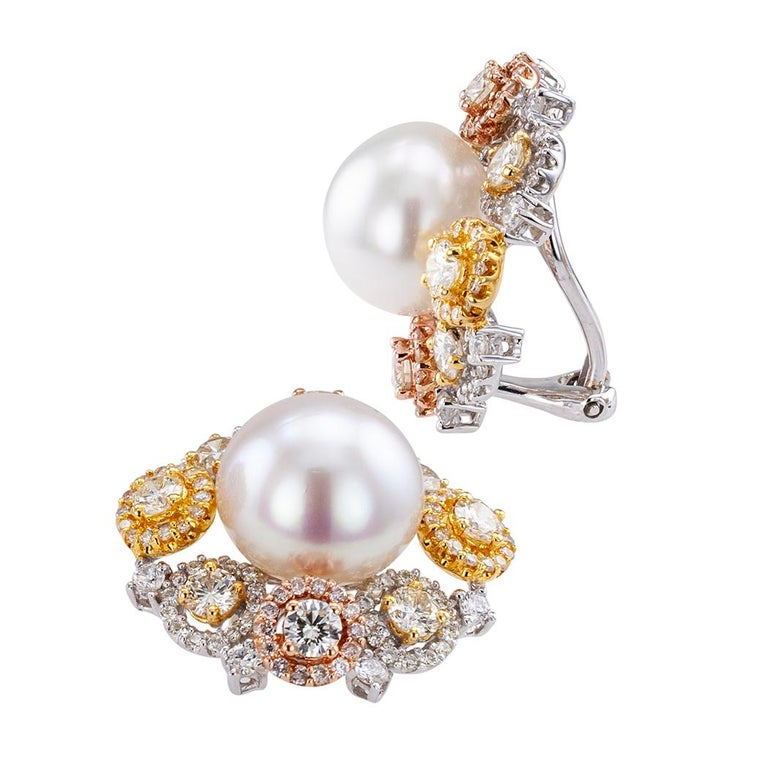 South Sea Button Pearl Diamond Gold Ear Clips In Good Condition For Sale In Los Angeles, CA