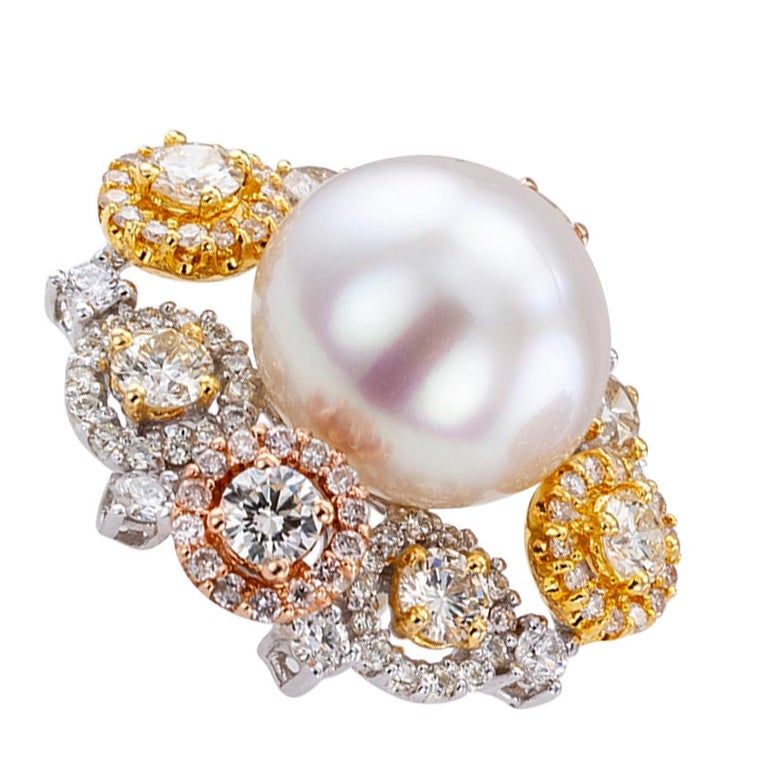 South Sea Button Pearl Diamond Gold Ear Clips For Sale 1