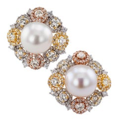 South Sea Button Pearl Diamond Gold Ear Clips