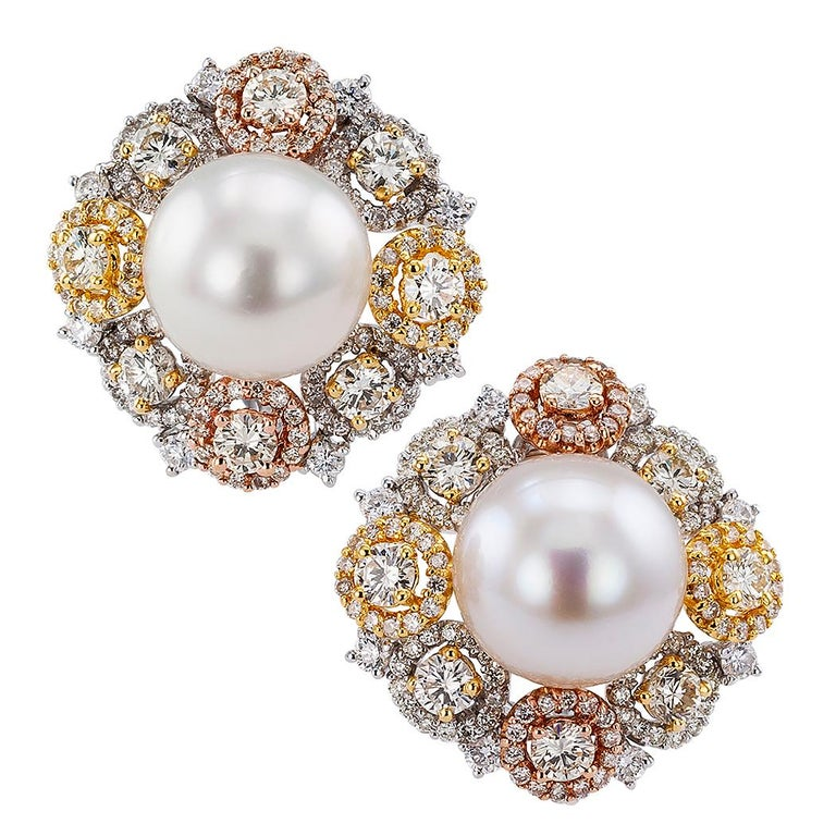 South Sea Button Pearl Diamond Gold Ear Clips For Sale
