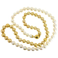 South Sea Champagne and White Pearls Necklace
