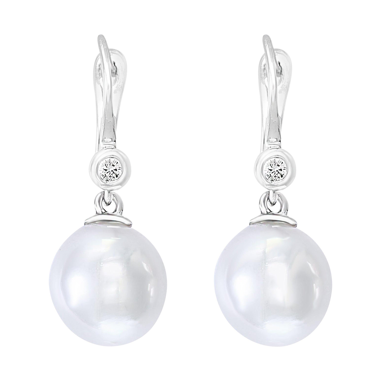 South Sea Cultured Pearl and Diamond Dangle Earrings