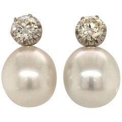 South Sea Cultured Pearl and Diamond Ear Studs in 18 Karat White Gold