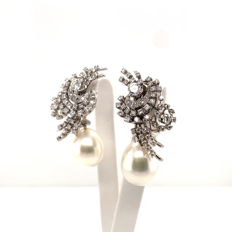 South Sea Cultured Pearl and Diamond Earclips by Bucherer in 18 Karat White Gold For Sale 5
