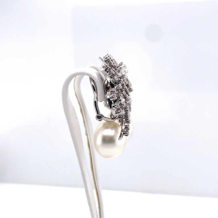 South Sea Cultured Pearl and Diamond Earclips by Bucherer in 18 Karat White Gold For Sale 6