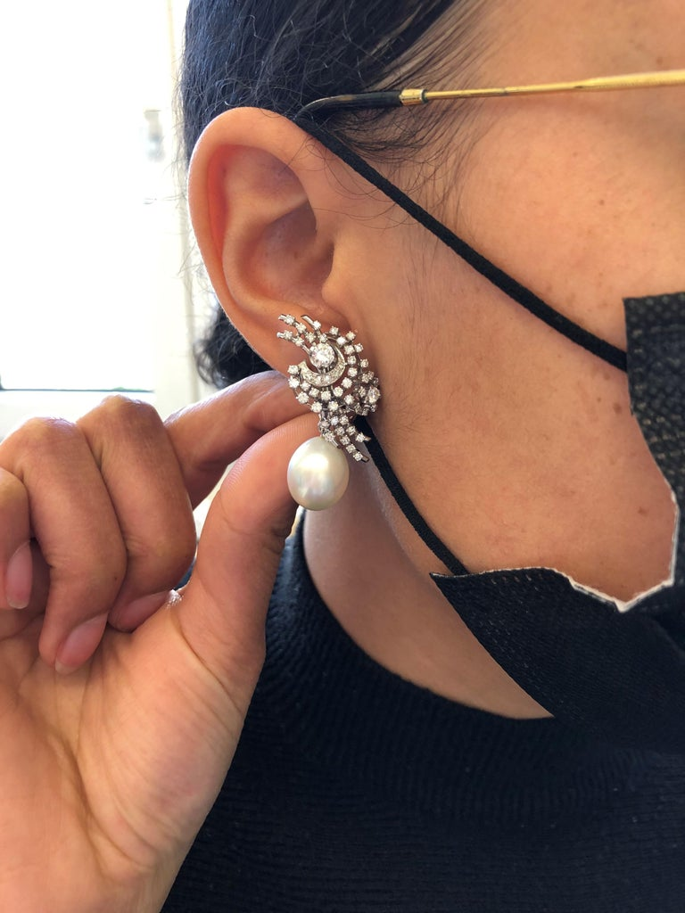 South Sea Cultured Pearl and Diamond Earclips by Bucherer in 18 Karat White Gold For Sale 8