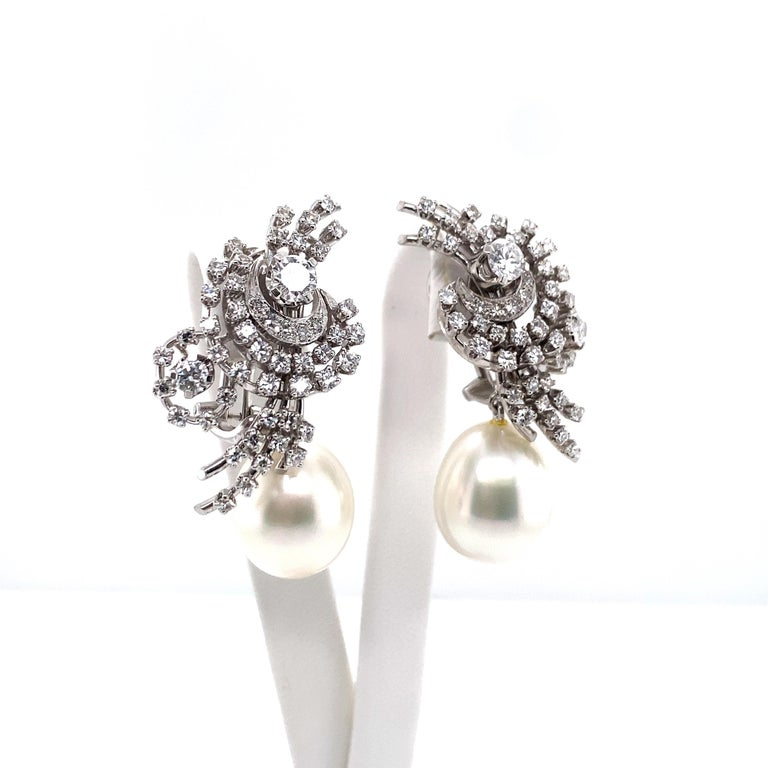 Contemporary South Sea Cultured Pearl and Diamond Earclips by Bucherer in 18 Karat White Gold For Sale