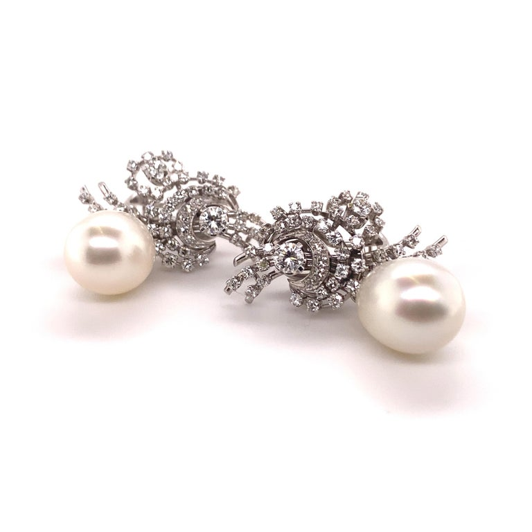Brilliant Cut South Sea Cultured Pearl and Diamond Earclips by Bucherer in 18 Karat White Gold For Sale