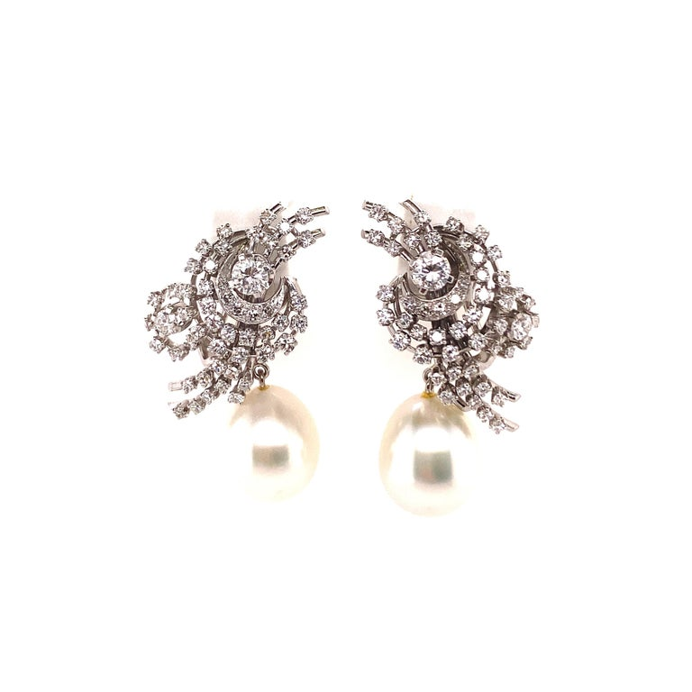 Women's or Men's South Sea Cultured Pearl and Diamond Earclips by Bucherer in 18 Karat White Gold For Sale