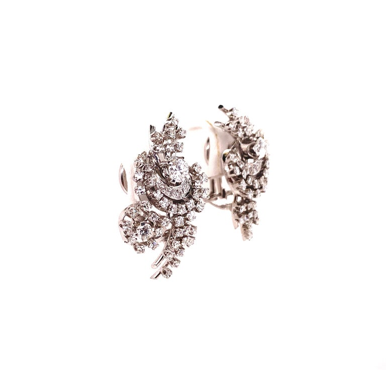 South Sea Cultured Pearl and Diamond Earclips by Bucherer in 18 Karat White Gold For Sale 2