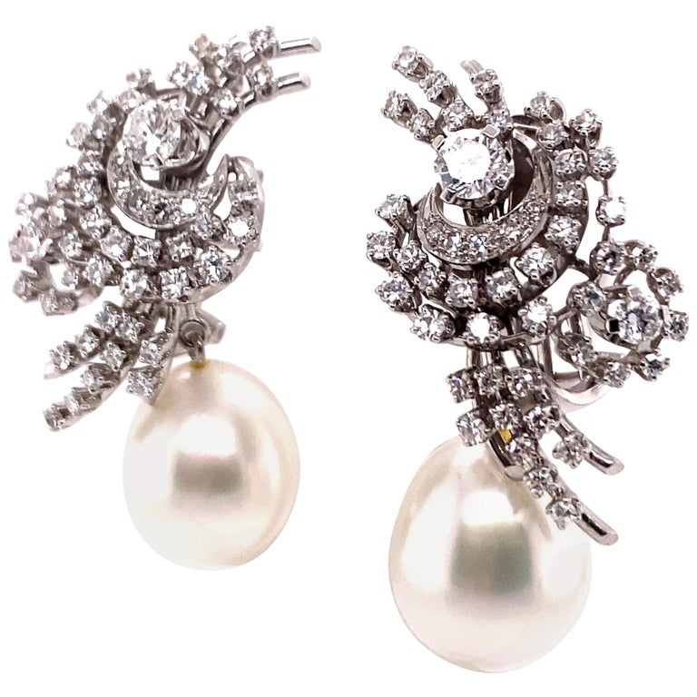 South Sea Cultured Pearl and Diamond Earclips by Bucherer in 18 Karat White Gold For Sale