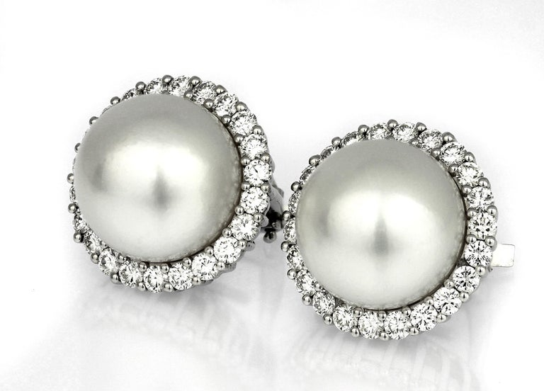 Round Cut South Sea Cultured-Pearl and Diamonds Cluster, Clip-On Earrings For Sale