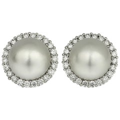 South Sea Cultured-Pearl and Diamonds Cluster, Clip-On Earrings