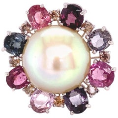 South Sea Golden Pearl, Burmese Multicolored Spinel, and Brown Diamond Ring