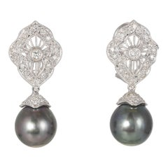 South Sea Cultured Pearl Diamond Gold Dangle Earrings