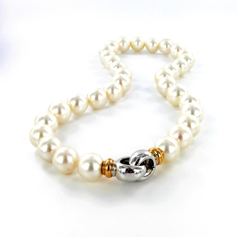 Bead South Sea Cultured Pearl Necklace with Clasp in 18 Karat White and Rose Gold For Sale