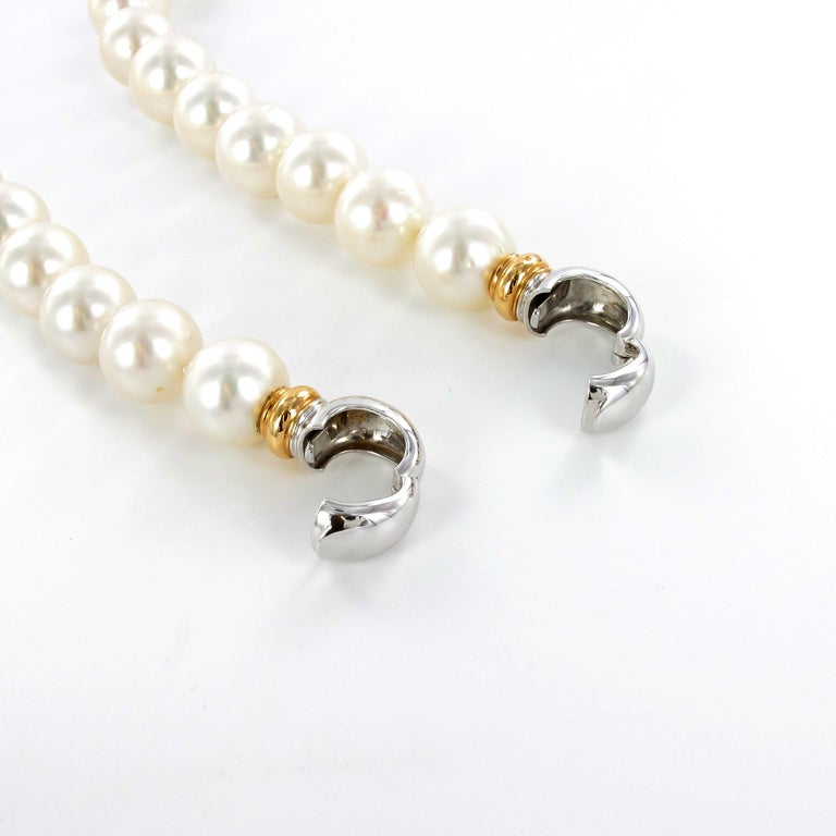 South Sea Cultured Pearl Necklace with Clasp in 18 Karat White and Rose Gold In Excellent Condition For Sale In Lucerne, CH