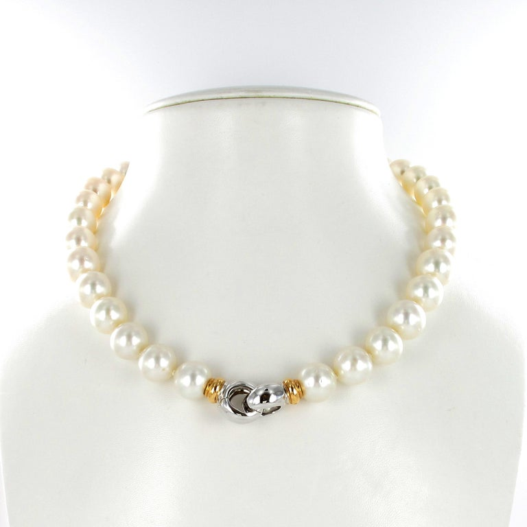 Women's or Men's South Sea Cultured Pearl Necklace with Clasp in 18 Karat White and Rose Gold For Sale