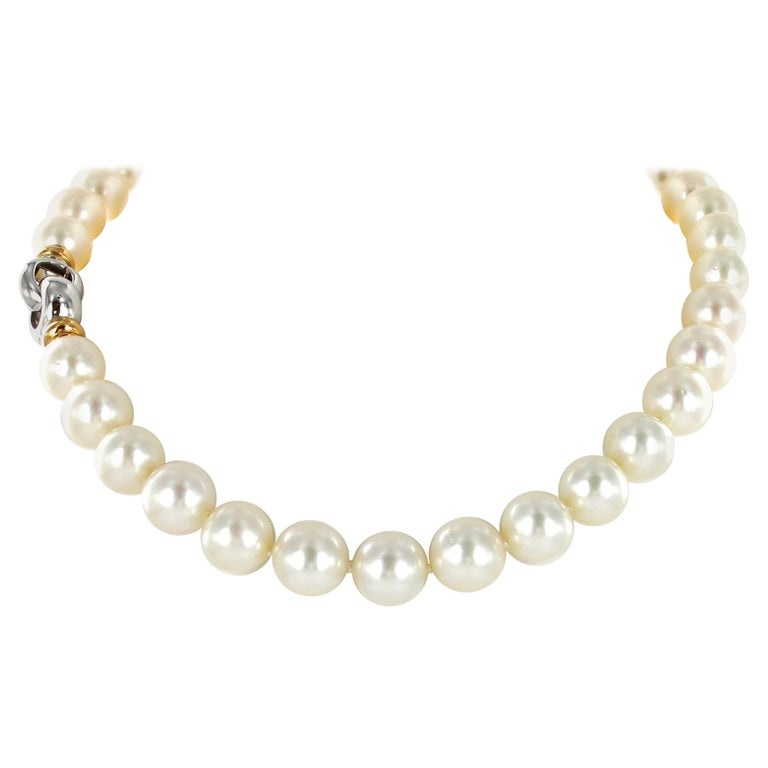 South Sea Cultured Pearl Necklace with Clasp in 18 Karat White and Rose Gold For Sale