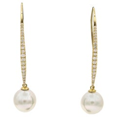 South Sea Diamond Drop Earrings, 0.57 Carat